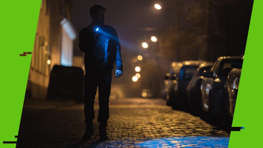 latarka używana w mieście