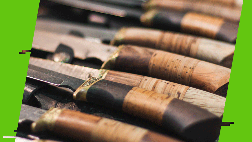 materiał na rękojeściach noży