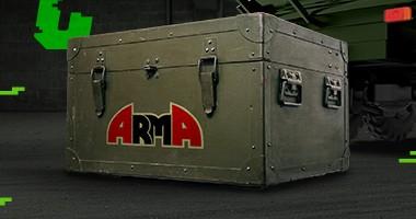 skrzynia z zaopatrzeniem, na niej napis Arma