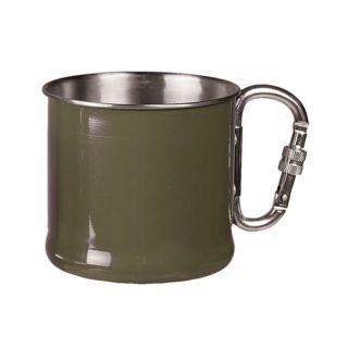Kubek z karabinkiem Mil-Tec 500 ml Zielony OD