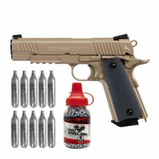 Wiatrówka Colt M45 A1 CQBP FDE ZESTAW CO2 10 szt BB 1500 szt