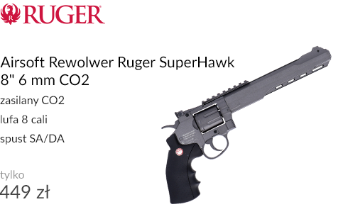 Airsoft Rewolwer Ruger SuperHawk 8 cali 6 mm CO2